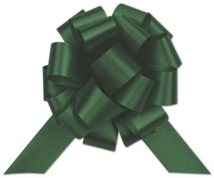 """Hunter Green Satin Perfect Pull Bows, 18 Loops, 4"""""""