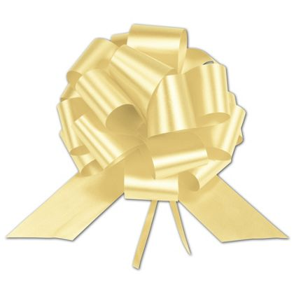 Yellow Satin Perfect Pull Bows, 18 Loops, 4""