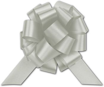 Silver Satin Perfect Pull Bows, 18 Loops, 4