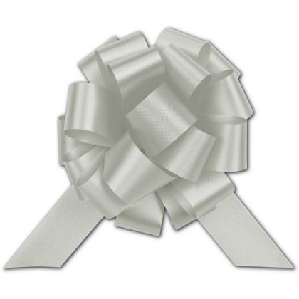 Silver Satin Perfect Pull Bows, 18 Loops, 4""