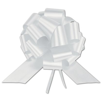 White Satin Perfect Pull Bows, 18 Loops, 4""