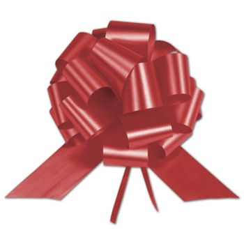 Hot Red Satin Perfect Pull Bows, 20 Loops, 5 1/2""