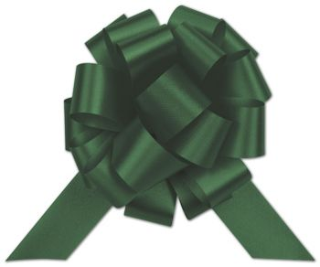 Hunter Green Satin Perfect Pull Bows, 20 Loops, 5 1/2