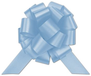 Light Blue Satin Perfect Pull Bows, 20 Loops, 5 1/2