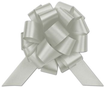 Silver Satin Perfect Pull Bows, 20 Loops, 5 1/2