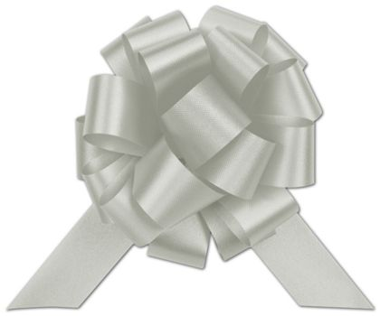 Silver Satin Perfect Pull Bows, 20 Loops, 5 1/2""