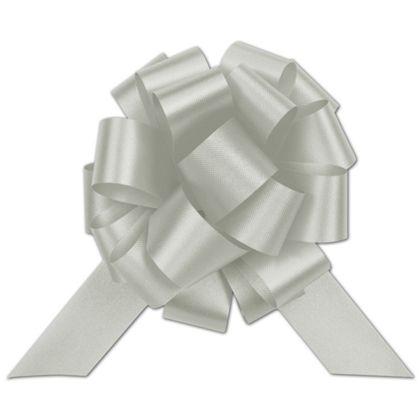 "Silver Satin Perfect Pull Bows, 20 Loops, 5 1/2"""