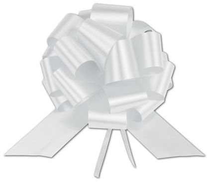 """White Satin Perfect Pull Bows, 20 Loops, 5 1/2"""""""
