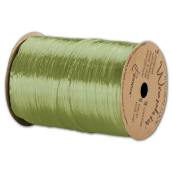 Pearlized Wraphia Jungle Green Ribbon, 1/4