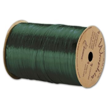 Pearlized Wraphia Hunter Green Ribbon, 1/4