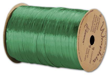 "Pearlized Wraphia Kelly Green Ribbon, 1/4"" x 100 Yds"