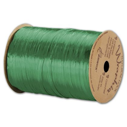 "Pearlized Wraphia Kelly Green Ribbon, 1/4"" x 100 Yds"
