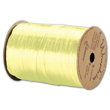Pearlized Wraphia Light Yellow Ribbon, 1/4