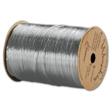 "Pearlized Wraphia Silver Ribbon, 1/4"" x 100 Yds"