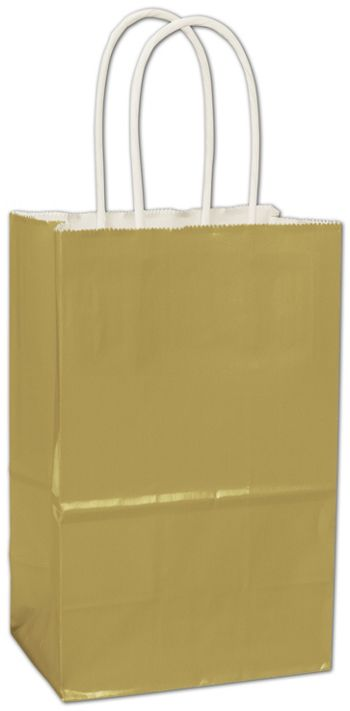 Metallic Gold High Gloss Paper Shoppers, 5 1/4x3 1/2x8 1/4