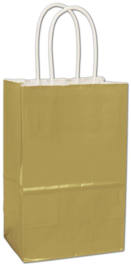 Metallic Gold High Gloss Paper Shoppers, 5 1/4x3 1/2x8 1/4