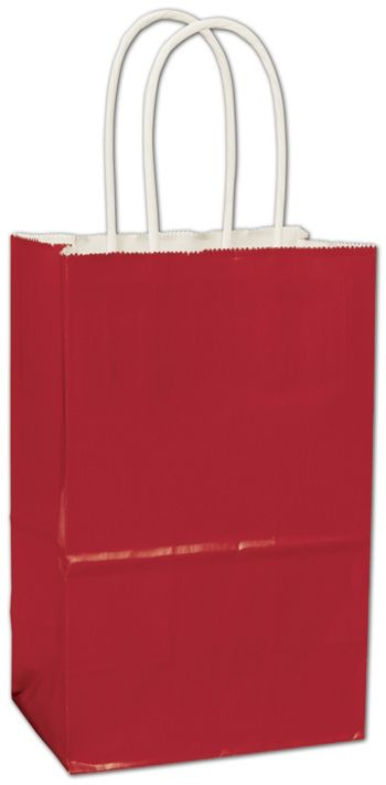 Red High Gloss Paper Shoppers, 5 1/4 x 3 1/2 x 8 1/4