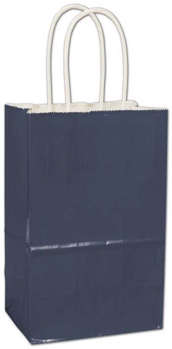 Navy High Gloss Paper Shoppers, 5 1/4 x 3 1/2 x 8 1/4