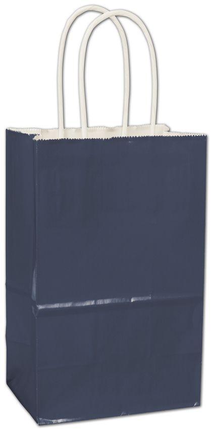 """Navy High Gloss Paper Shoppers, 5 1/4 x 3 1/2 x 8 1/4"""""""