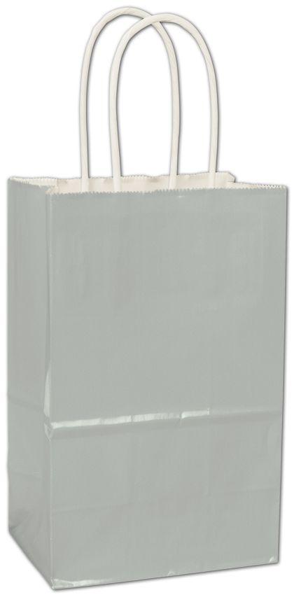 Metallic Silver High Gloss Paper Shoppers