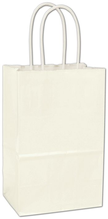 White High Gloss Paper Shoppers, 5 1/4 x 3 1/2 x 8 1/4