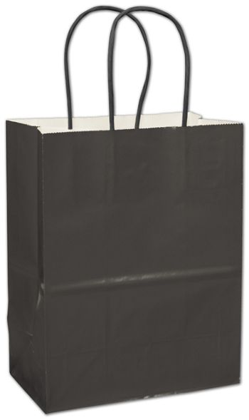Black High Gloss Paper Shoppers, 8 1/4 x 4 3/4 x 10 1/2