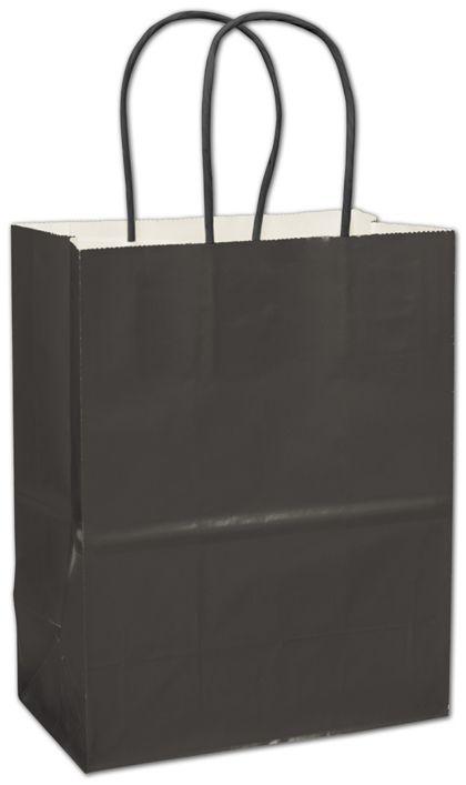 """Black High Gloss Paper Shoppers, 8 1/4 x 4 3/4 x 10 1/2"""""""