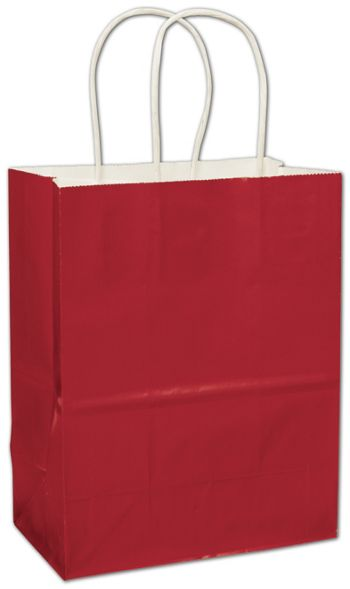 Red High Gloss Paper Shoppers, 8 1/4 x 4 3/4 x 10 1/2