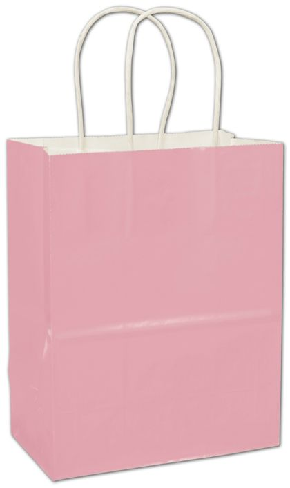 Pink High Gloss Paper Shoppers, 8 1/4 x 4 3/4 x 10 1/2""