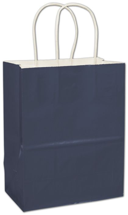 Navy High Gloss Paper Shoppers, 8 1/4 x 4 3/4 x 10 1/2""