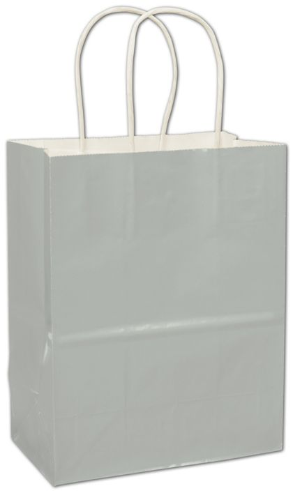 Metallic Silver High Gloss Paper Shoppers