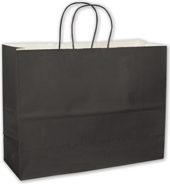 Black High Gloss Paper Shoppers, 16 x 6 x 12 1/2
