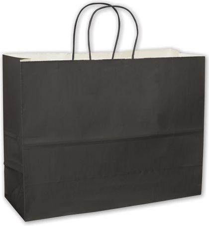 """Black High Gloss Paper Shoppers, 16 x 6 x 12 1/2"""""""