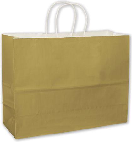 Metallic Gold High Gloss Paper Shoppers, 16 x 6 x 12 1/2