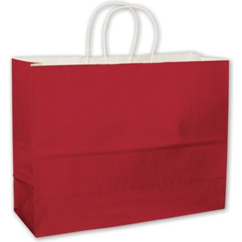 Red High Gloss Paper Shoppers, 16 x 6 x 12 1/2