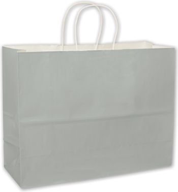 Metallic Silver High Gloss Paper Shoppers, 16 x 6 x 12 1/2