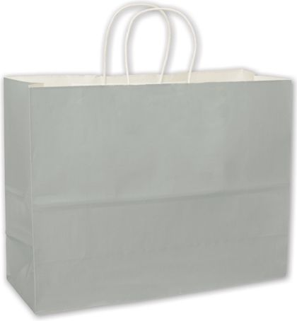 Metallic Silver High Gloss Paper Shoppers, 16 x 6 x 12 1/2
