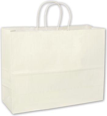 White High Gloss Paper Shoppers, 16 x 6 x 12 1/2