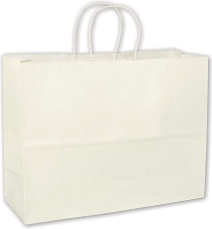 White High Gloss Paper Shoppers, 16 x 6 x 12 1/2""