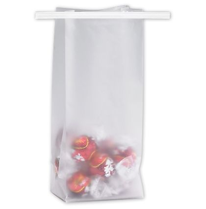 Clear Frosted Tin-Tie Bags, 3 1/2 x 2 1/2 x 7 3/4""