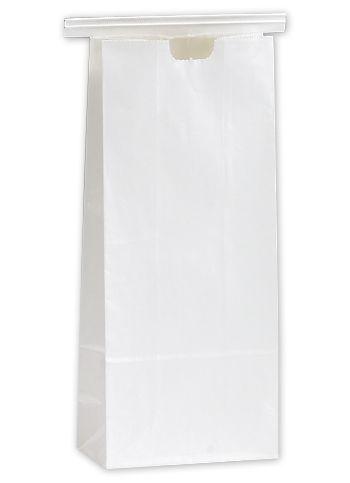 White Tin-Tie Bags, 4 1/4 x 2 1/2 x 9 3/4