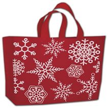 "Festive Snowflake High-Density Bags, 16 x 15"" + 6"" BG"