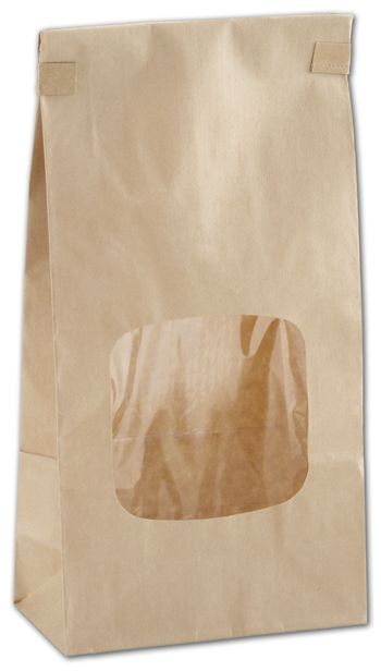 Kraft Tin-Tie Bags w/ Windows, 4 3/4 x 2 1/2 x 9 1/2