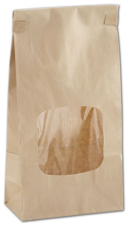 Kraft Tin-Tie Bags w/ Windows, 4 3/4 x 2 1/2 x 9 1/2""