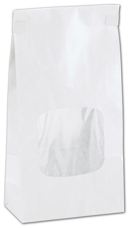 White Tin-Tie Bags w/ Windows, 4 3/4 x 2 1/2 x 9 1/2""