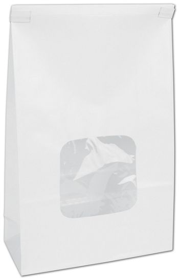 White Tin-Tie Bags w/ Windows, 6 x 2 3/4 x 9 1/2