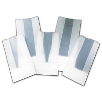 """Clear Frosted Poly Gift Bags, 4 x 2 1/2 x 9 3/4"""""""
