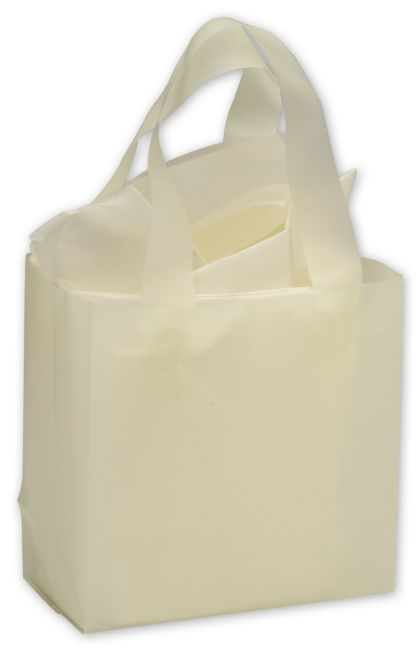 Ivory Frosted High Density Shoppers, 6 1/2 x 3 1/2 x 6 1/2