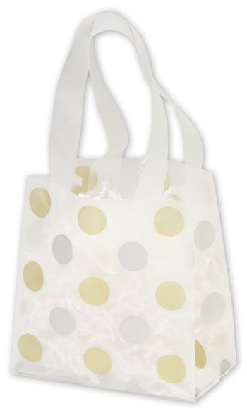Gold & Silver Dots Clear-Frosted Flex Loop Shoppers