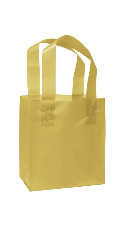 Gold Frosted High Density Shoppers, 6 1/2 x 3 1/2 x 6 1/2""